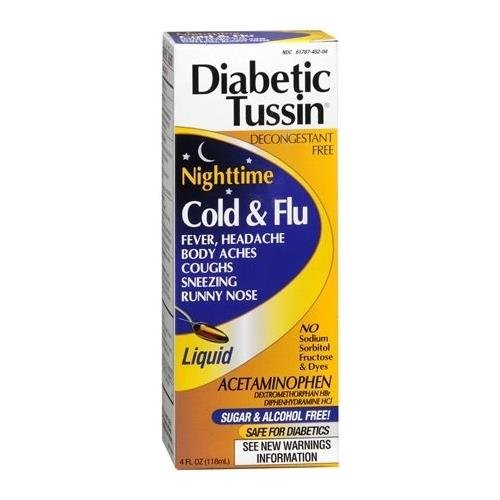 Diabetic Tussin Nighttime Cold & Flu Liquid 4 OZ - Buy Packs and SAVE (Pack of 4) -