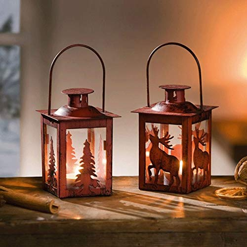 Christmas Tree Hurricane Lamp - Sungmor Set of 2 Windproof Tea Light Metal Candle Holder Lantern with 2 Tea Waxes | Red Christmas Tree & Deer Hanging Hurricane Lamp|Christmas Wedding Home Decoration Ornaments