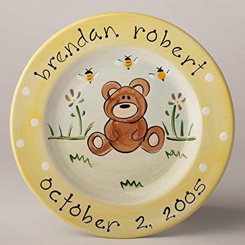 Personalized Ceramic Birth Announcement Plate With Baby Bear