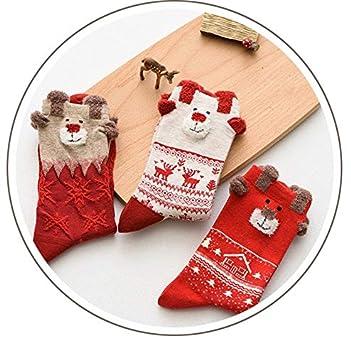 DCPPCPD Mujer 3D Navidad Calcetines Calcetines Regalo Ciervos Otoño Invierno señoras Casual Femenino Calcetines Calcetines Cute Dibujos Animados 3pares ...