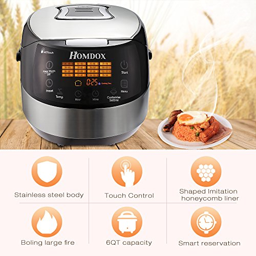 Homdox Rice Cooker with Food Steamer and Slow Cooker Multi-Cooker, 860w, 6QT