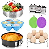 Pressure Cooker Accessories Set, Compatible with Instant Pot 6 8 QT, Includes Steamer Basket, Springform Cake Pan, Egg Bites Mold, Eggs Rack, Silicone Dish Sponge, Cheat Sheet Magnets, 9Pcs