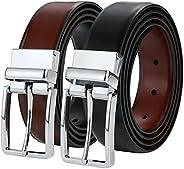"BSLLNEK Men's Belt, Genuine Leather Reversible belt 1.45"", Dress Casual belts for men, One BeltRever"