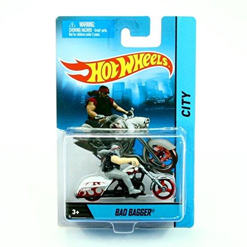 (BAD BAGGER (White/Black Cycle / Black/Grey Rider) MOTORCYCLE & RIDER Hot Wheels City Series 1:64 Scale 2013 Die-Cast Vehicle)