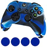 Assecure camouflage camo blue protect & grip pack soft silicone skin grip protective cover rubber bumper case with ribbed handle grip & blue TPU analogue thumb grip stick caps for Microsoft Xbox One controller Review