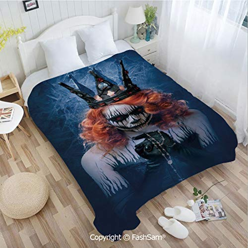 PUTIEN Flannel Fleece Blanket with 3D Queen of Death Scary Body Art Halloween Evil Face Bizarre Make Up Zombie for Fun Playroom Decorations(49Wx78L) -