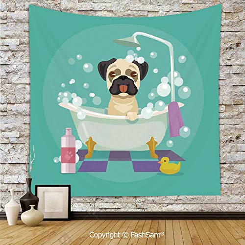 Tapestry Wall Hanging Pug Dog in Bathtub Grooming Salon Service Shampoo Rubber Duck Pets in Cartoon Style Image Tapestries Dorm Living Room Bedroom(W39xL59) -