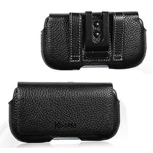 KHOMO ® Black Leather Belt Holster case for Samsung Galaxy S4