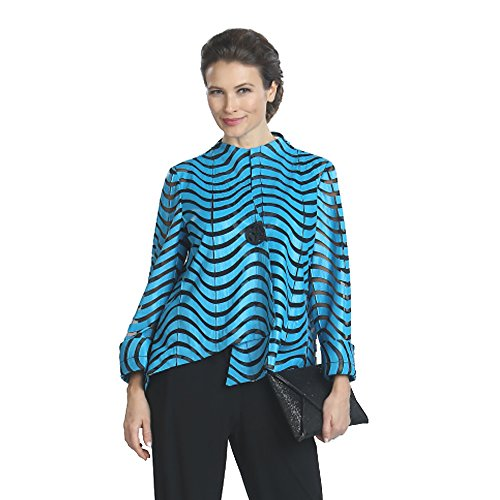 IC Collection Faux Leather Designer Jacket in Blue 2596 (Medium) by IC Collection
