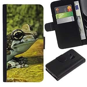 WINCASE (No Para S3 i9300) Cuadro Funda Voltear Cuero Ranura Tarjetas TPU Carcasas Protectora Cover Case Para Samsung Galaxy S3 MINI 8190 - bosque cubo amarillo de la rana