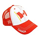Canada Flag Patch Embroidery Mesh Hat Adjustable North America Baseball Cap (Red)