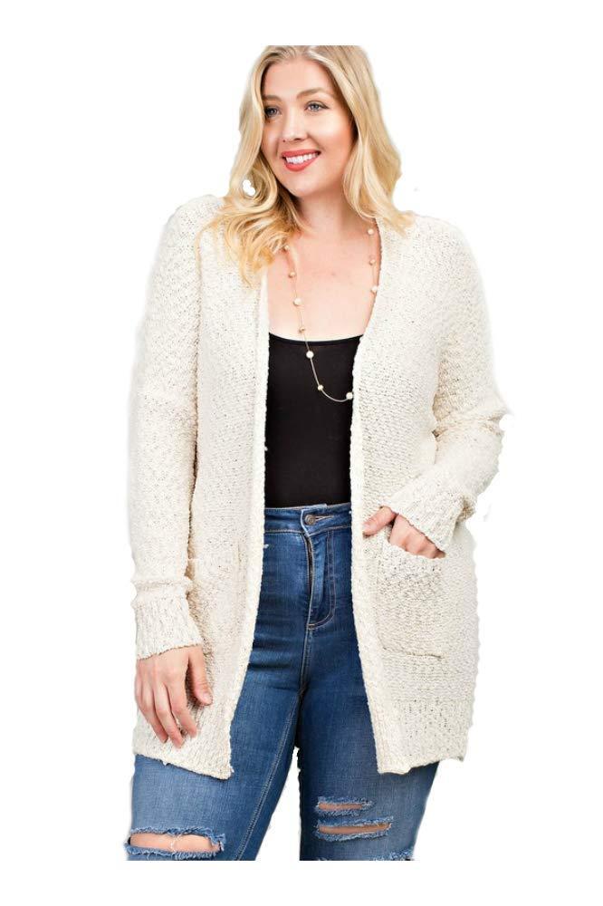 Ladies Popcorn Knit Oversized Cardigan (Multiple Colors) (S/M, Cream)
