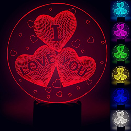 3D I LOVE You Heart Optical LED Illusion Lamp, YKL World 7 Color Change Touch Switch Art Sculpture Lights Desk Table Night Light Awesome Gift