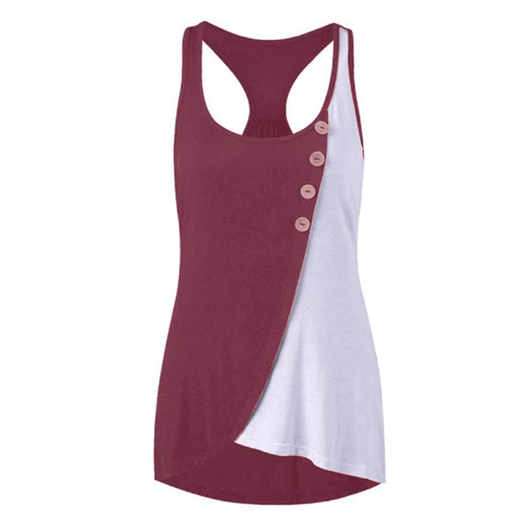 Kalinyer Women Round Neck Button Tank Tops Blouse Summer Casual Sleeveless Contrast Stitching Tunic Vest Top Racerback Wine Red