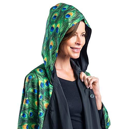 RainCaper Womens Raincoat with Hood - Stylish Reversible Rainproof Peacock Print Travel Cape (Black/Peacock) (Ladies Rain Poncho)