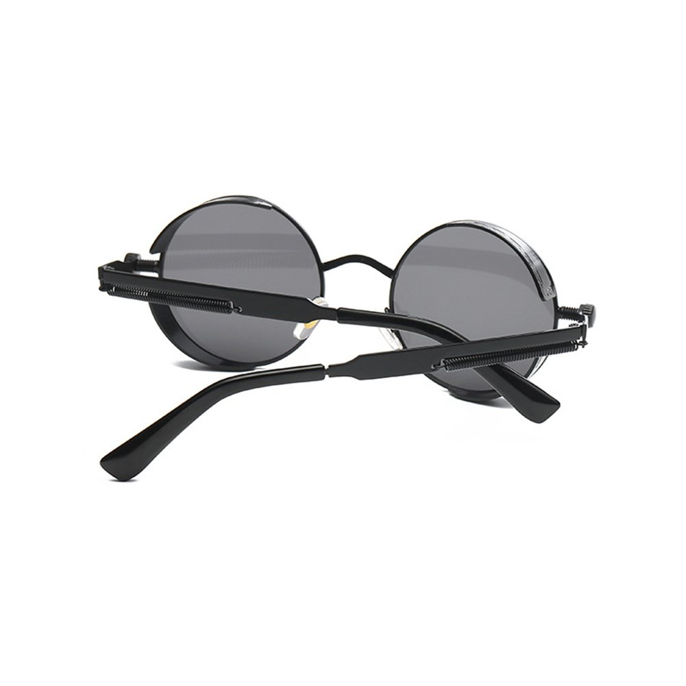 0d414e3faef0 Amazon.com  Coolsunny Retro Gothic Steampunk Sunglasses Metal Round Circle  Frame Sunglasses CS0914 (Black-grey