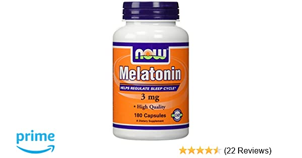 Amazon.com : (2 X 180 ct) NOW Food Melatonin 3 mg 360 Capsules(180, Pack of 2) : Beauty