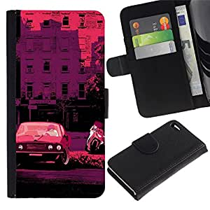 All Phone Most Case / Oferta Especial Cáscara Funda de cuero Monedero Cubierta de proteccion Caso / Wallet Case for Apple Iphone 4 / 4S // Retro Car Bike Italy France Pink