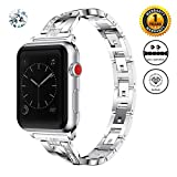 Jomoq Bling Replacement Bands Compatible for Apple Watch Band 38mm 40mm 42mm 44mm Women Iwatch Series 4 3 2 1 Accessories Stainless Steel Wristband, Diamond Rhinestone Sport Strap-Silver Small