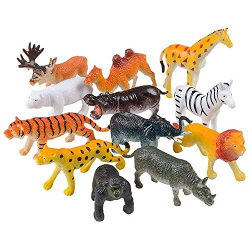 Rhode Island Novelty 12 Little Zoo Animals Toy Figure, 2.5