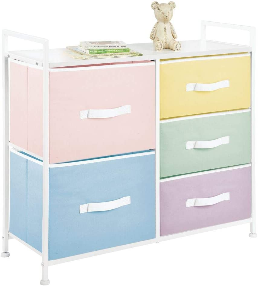 mDesign Wide Dresser 5 Drawers Storage Furniture - Wood Top, Easy Pull Fabric Bins - Organizer for Child/Kids Room or Nursery - Multi-Colored Drawers/White Frame