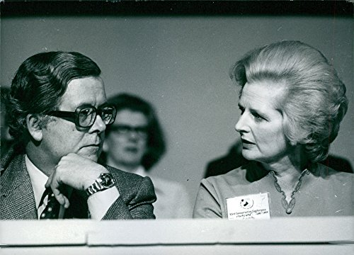 Vintage photo of Mrs. Margaret Thatcher and Sir Geoffrey Howe at the 1976 Conservative Party Conference in Brighton.- 1976 -