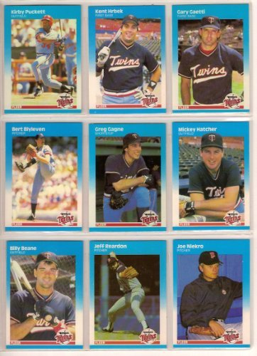 Minnesota Twins 1987 Fleer Baseball Team Set (World Series Champions) (Kirby Puckett) (Kent Hrbek) (Gary Gaetti) (Bert Blyleven) (Greg Gagne) (Mickey Hatcher) (Billy Beane Rookie) (Jeff (1987 Twins Team)