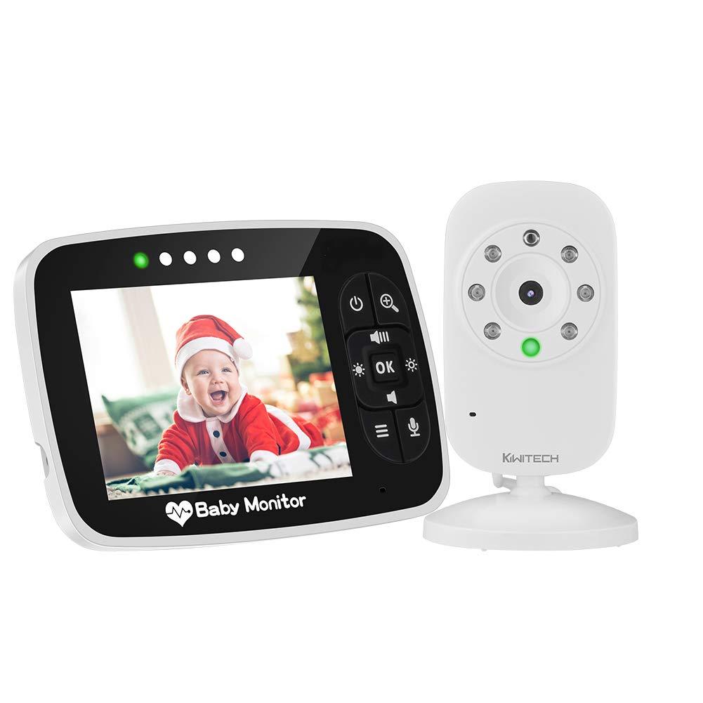 Video Baby Monitor Babyphone mit Kamera babyfon Gegensprechfunktion KIWITECH Digital kabellose Ü berwachungskamera (Schlafmodus, Nachtsicht, Temperatursensor, Schlaflieder), 2.0 Zoll LCD Display