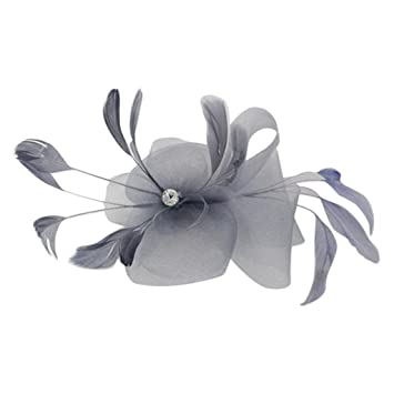 Feather Wedding Ladies Fancy Ascot Race Fascinator on Clip Hair Accessories  6 Colors - Grey 649e64d114f