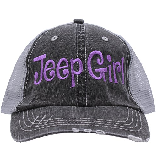 Jeep Girl Embroidered Distressed Trucker Style Cap Hat Rocks any Outfit Purple