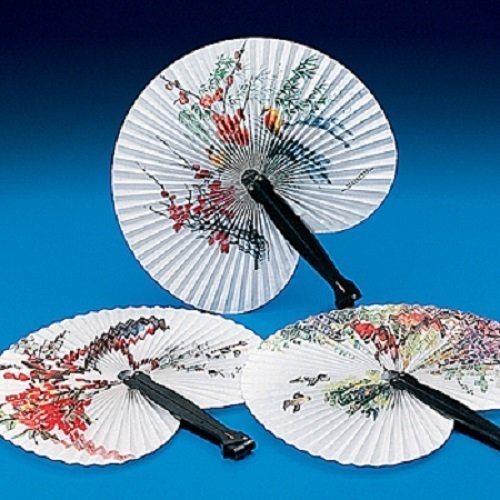 Lot of 12 Paper Oriental Folding Fans Wedding Asst Styles