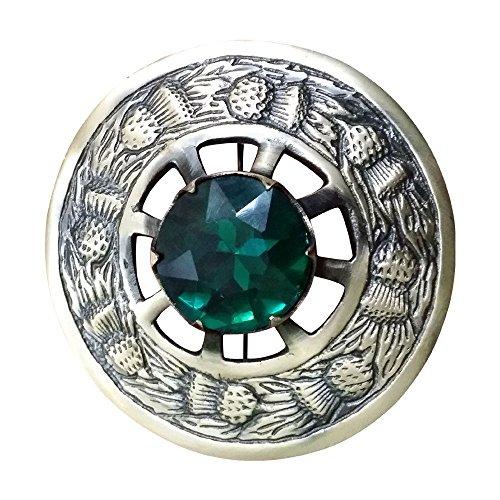 AAR Men,s Scottish Kilt Brooch Fly Plaid Green Stone Antique Finish 3