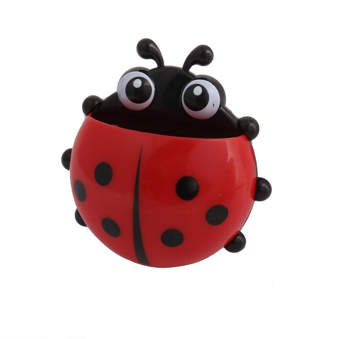 eDealMax plástico de baño Ladybird Patrón ventosa pared del jabón cepillo de dientes titular Organizador Rojo - - Amazon.com