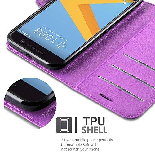 Cadorabo - Funda HTC ONE M10 Book Style de Cuero Sintético en Diseño Libro - Etui Case Cover Carcasa Caja Protección (con función de suporte y tarjetero) en ROJO-CARMÍN VIOLETA-DE-MANGANESO