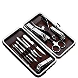 #3: Tseoa Manicure, Pedicure Kit, Nail Clippers, Professional Grooming Kit, Nail Tools with Luxurious Travel Case, Set of 12