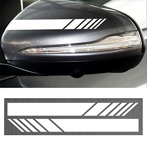 YOUNGFLY 2pcs Car Rear View Mirror Stickers Decor DIY Car Body Sticker Side Decal Stripe Decals SUV Vinyl Graphic White