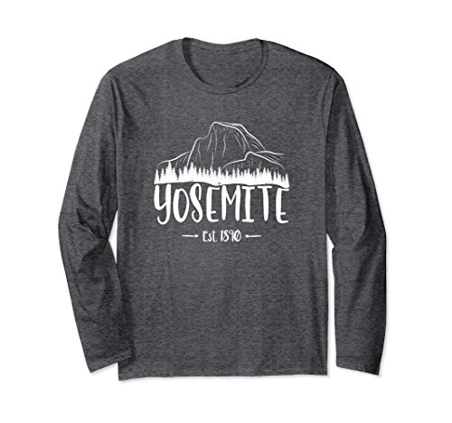 Unisex Half Dome Yosemite National Park 1890 Long Sleeve Shirt Large Dark Heather -