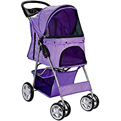 OxGord Pet Stroller Cat/Dog Easy Walk Folding Travel Carrier Carriage, Lavender Purple