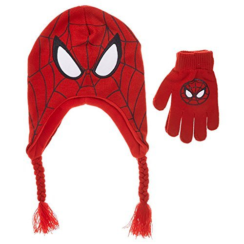 Ultimate SPIDERMAN Boys Earflap Hat & Gloves (Spiderman Mask And Gloves)