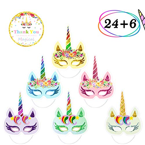 24 PCS Rainbow Unicorn Paper Masks Kids Birthday Party Photo Props Favors with 6PCS Thank You Stickers]()