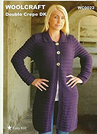 Wc0022 Knitting Pattern For Adult Ladieswomens Long 3 Button