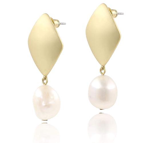 c769c29df71a9 BOUTIQUELOVIN Large Pearl Drop Earrings Freshwater Pearls Long Dangle Stud  Earring Fashion Jewelry for Women, 14K Gold Plated