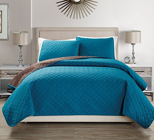 Great Deal! Mk Collection Solid Reversible Embossed Coffee/Blue Turquoise bedspread Coverlet New #35...