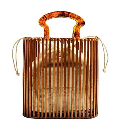(Hurber Women Summer Acrylic Crossbody Bucket Bag Woven Tote Square Shape Shoulder Bag Round Beach Purse Handbags, Brown, One Size)