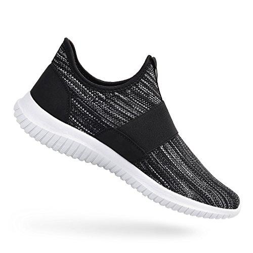 ZOCAVIA Scarpe Sportive da Uomo Sneakers Senza Lacci per Correre Nero/Grigio