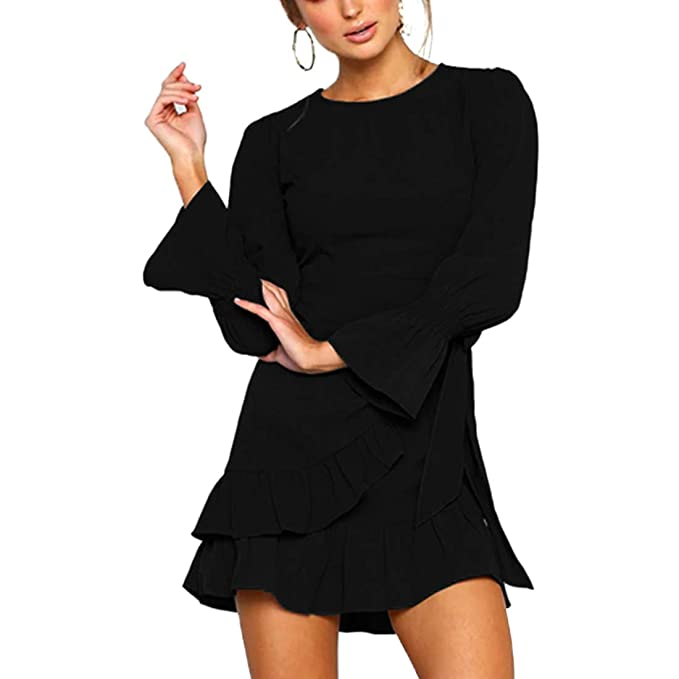 c112caf4f0 Womens Long Sleeve Round Neck Ruffles Wrap Dresses Party Dress at Amazon  Women s Clothing store