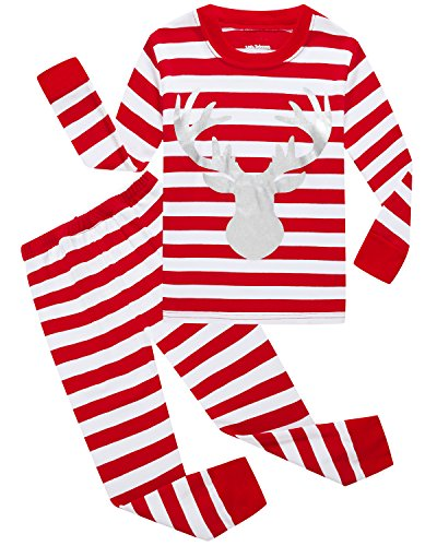 Girls Christmas Pajamas Cotton Stripe Reindeer Toddler Clothes Kids Pjs Children Sleepwear Size 3