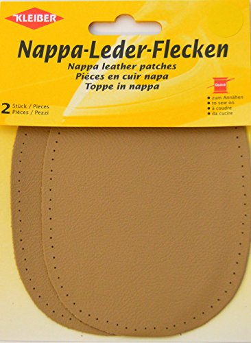 Kleiber Sew-on Nappa Leather Elbow and Knee Patches 12.5 cm x 10 cm, Beige, 2 per - Beige Nappa Leather