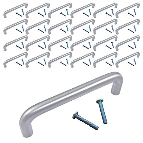 (25 Pack, CC: 4 Inches Wire Pull) Swiss Kelly Satin Nickel Kitchen Cabinet Handle Drawer Knob