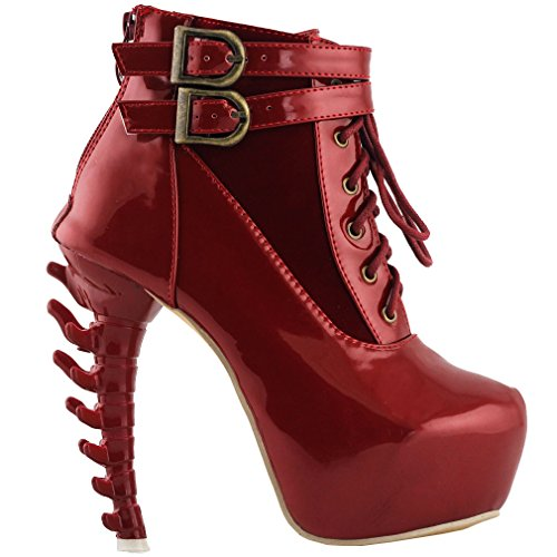 Show Story Red Lace Up Buckle High-top Bone High Heel Platform Ankle Boots,LF40601RD41,9US,Red